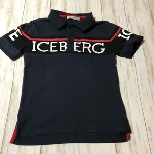 ICE ICEBERG Polo Shirt Size 4 Logo Short Sleeve